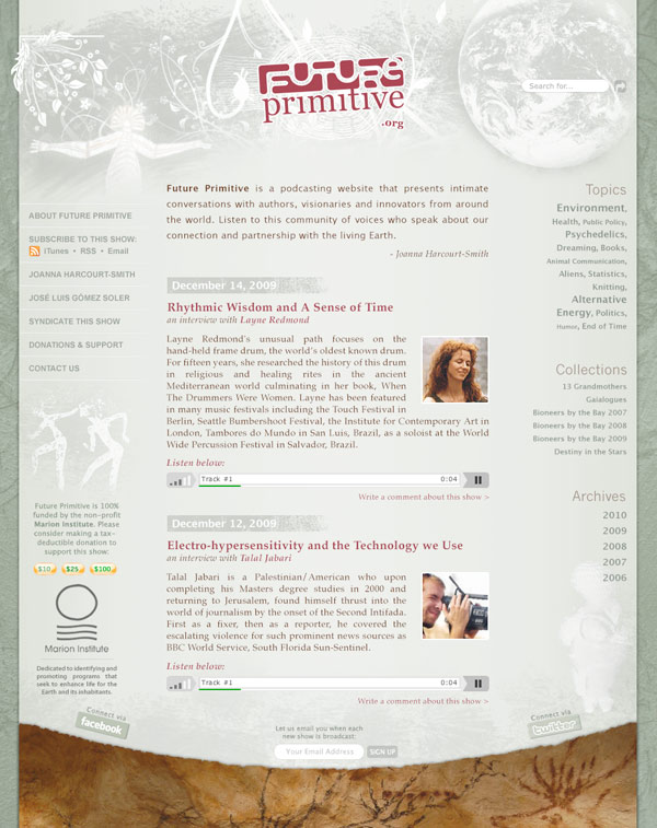 Podcasting website for Future Primitive