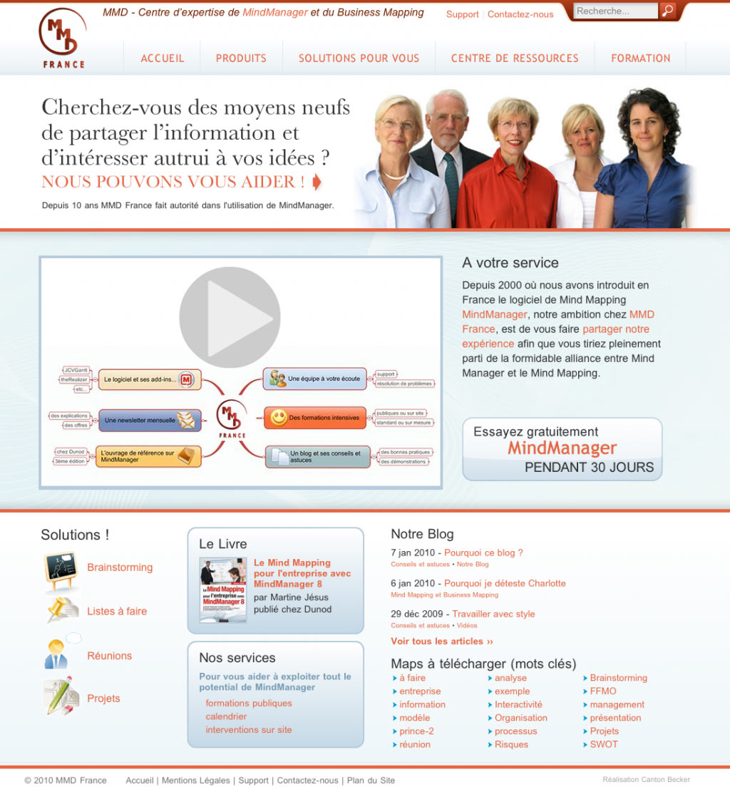 Website redesign for MMD France: MindManager experts