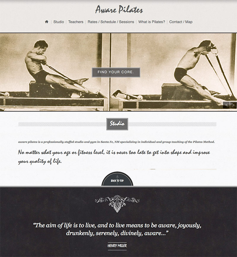 Aware Pilates: Single page style website redesign