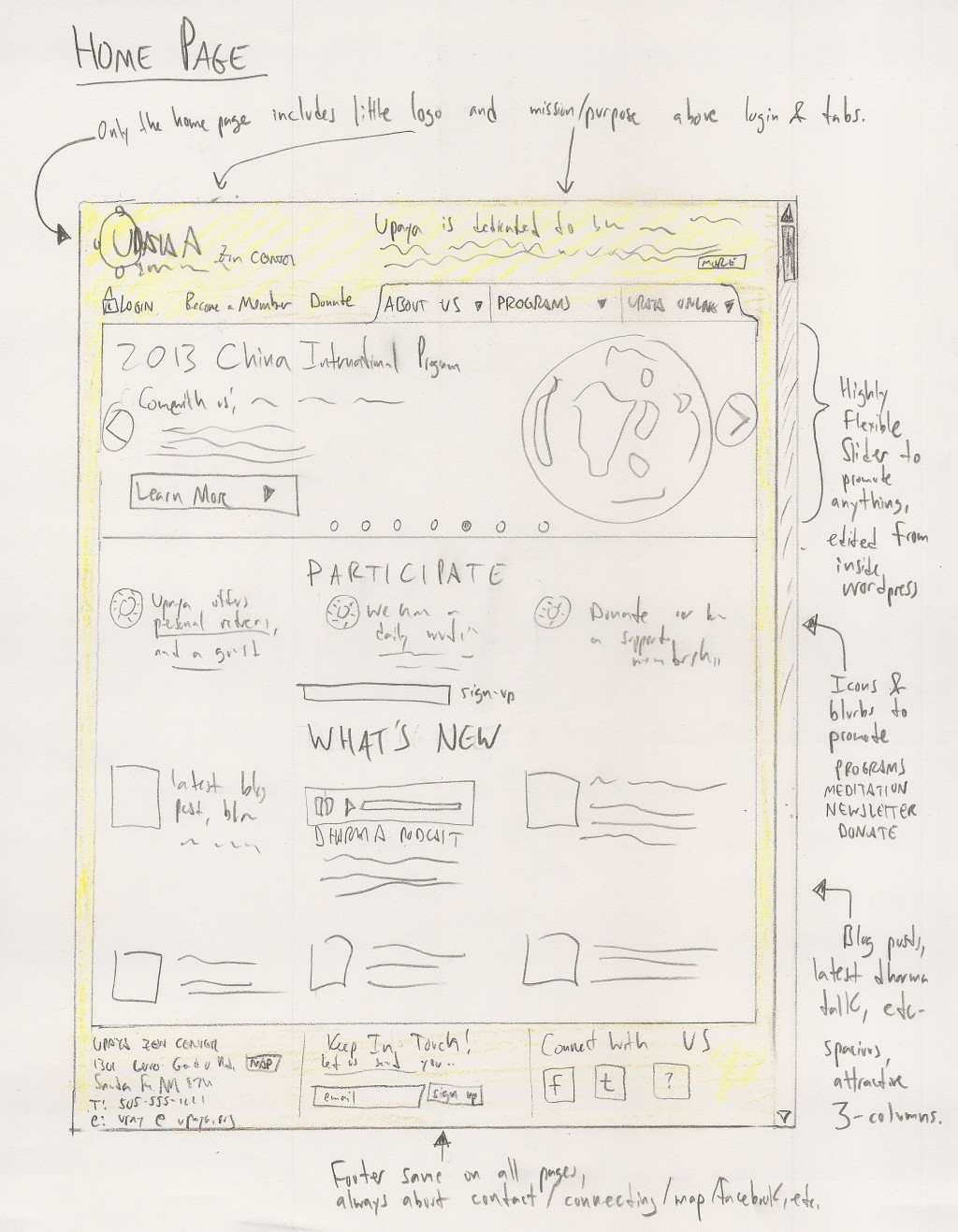 "An early ""wireframe"" of the new homepage"