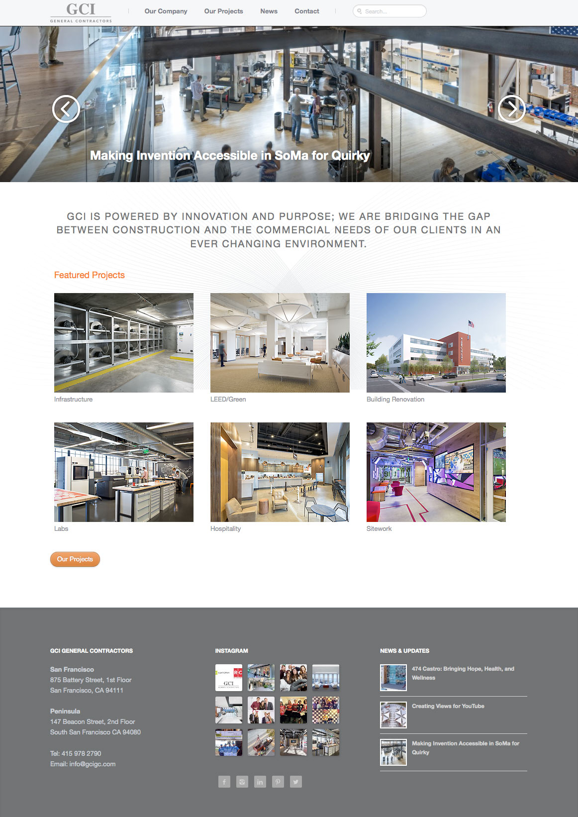 GCI General Contractors: Portfolio site with full-screen slideshows